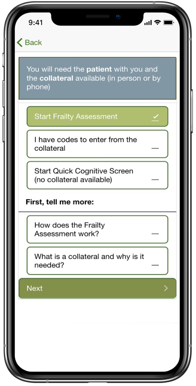 PATH - The Frailty App on an iPhone